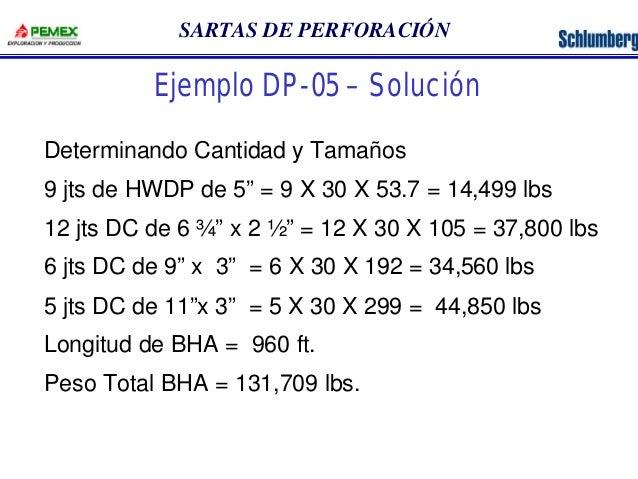 """SARTAS DE PERFORACIÓN  Ejemplo DP-05 – Solución  Determinando Cantidad y Tamaños  9 jts de HWDP de 5"""" = 9 X 30 X 53.7 = 14..."""