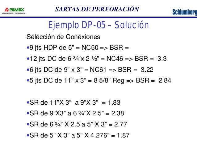 """SARTAS DE PERFORACIÓN  Ejemplo DP-05 – Solución  Selección de Conexiones  ·9 jts HDP de 5"""" = NC50 => BSR =  ·12 jts DC de ..."""