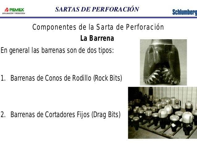 SARTAS DE PERFORACIÓN  Componentes de la Sarta de Perforación  La Barrena  En general las barrenas son de dos tipos:  1. B...