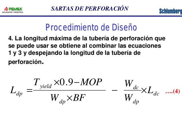 SARTAS DE PERFORACIÓN  4. La longitud máxima de la tubería de perforación que  se puede usar se obtiene al combinar las ec...