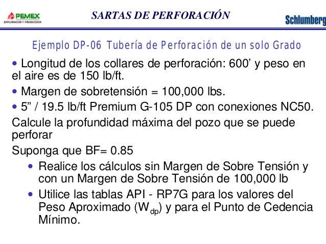 SARTAS DE PERFORACIÓN  Ejemplo DP-06 Tubería de Perforación de un solo Grado  · Longitud de los collares de perforación: 6...
