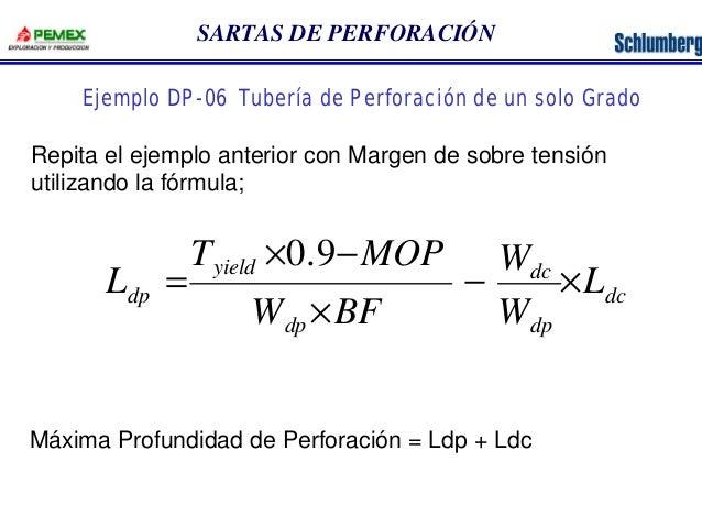 SARTAS DE PERFORACIÓN  Ejemplo DP-06 Tubería de Perforación de un solo Grado  Repita el ejemplo anterior con Margen de sob...