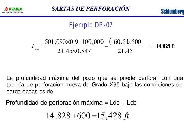 SARTAS DE PERFORACIÓN  Ejemplo DP-07  ( )  501,090 0.9 100,000 ´  160.5 600  21.45  ´ -  21.45 0.847  -  ´  = dp L  La pro...