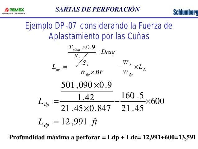 SARTAS DE PERFORACIÓN  Ejemplo DP-07 considerando la Fuerza de  Aplastamiento por las Cuñas  dc  dc  dp  T  dp  yield  h  ...