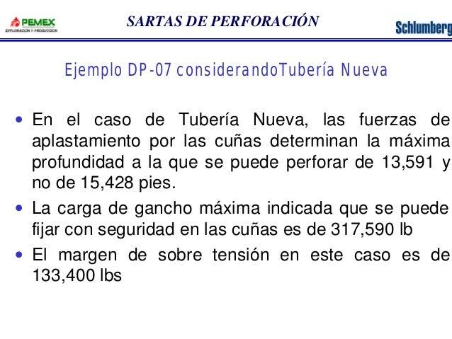 SARTAS DE PERFORACIÓN  Ejemplo DP-07 considerandoTubería Nueva  · En el caso de Tubería Nueva, las fuerzas de  aplastamien...