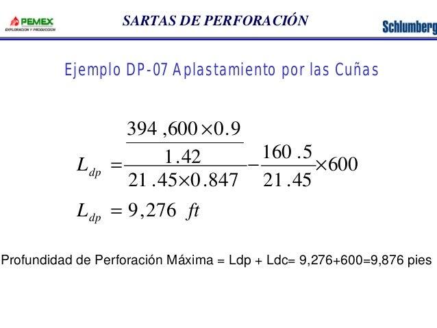 SARTAS DE PERFORACIÓN  Ejemplo DP-07 Aplastamiento por las Cuñas  L  dp  394 ,600 0.9  1.42  L ft  dp  9,276  600  160 .5 ...