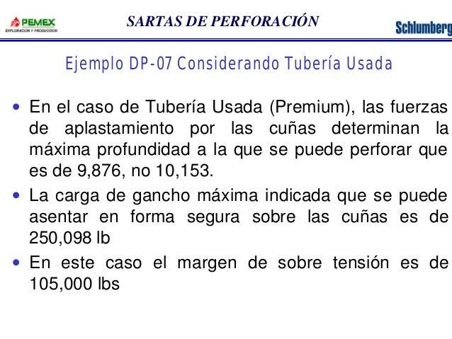 SARTAS DE PERFORACIÓN  Ejemplo DP-07 Considerando Tubería Usada  · En el caso de Tubería Usada (Premium), las fuerzas  de ...