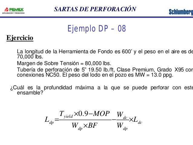 SARTAS DE PERFORACIÓN  La longitud de la Herramienta de Fondo es 600' y el peso en el aire es de  70,000 lbs.  Margen de S...