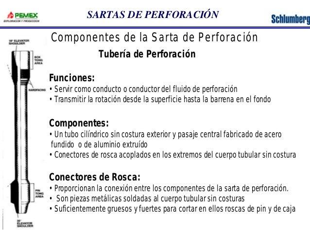 SARTAS DE PERFORACIÓN  Componentes de la Sarta de Perforación  Tubería de Perforación  Funciones:  •Servir como conducto o...