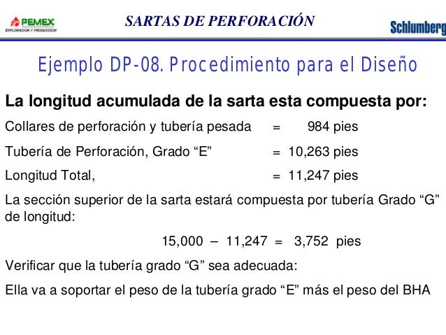 SARTAS DE PERFORACIÓN  Ejemplo DP-08. Procedimiento para el Diseño  La longitud acumulada de la sarta esta compuesta por: ...