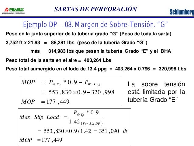 """SARTAS DE PERFORACIÓN  Ejemplo DP – 08. Margen de Sobre-Tensión. """"G""""  Peso en la junta superior de la tubería grado """"G"""" (P..."""
