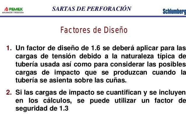 SARTAS DE PERFORACIÓN  Factores de Diseño  1. Un factor de diseño de 1.6 se deberá aplicar para las  cargas de tensión deb...