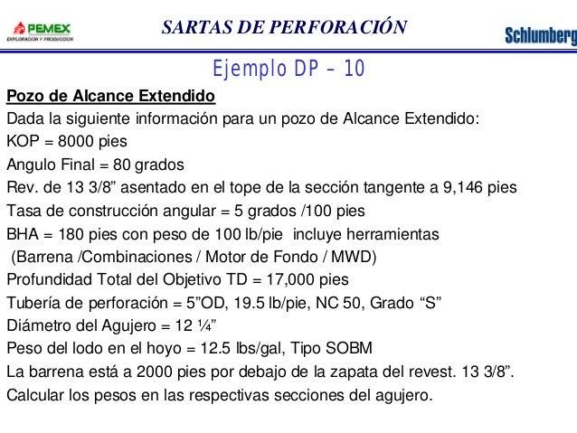 SARTAS DE PERFORACIÓN  Ejemplo DP – 10  Pozo de Alcance Extendido  Dada la siguiente información para un pozo de Alcance E...