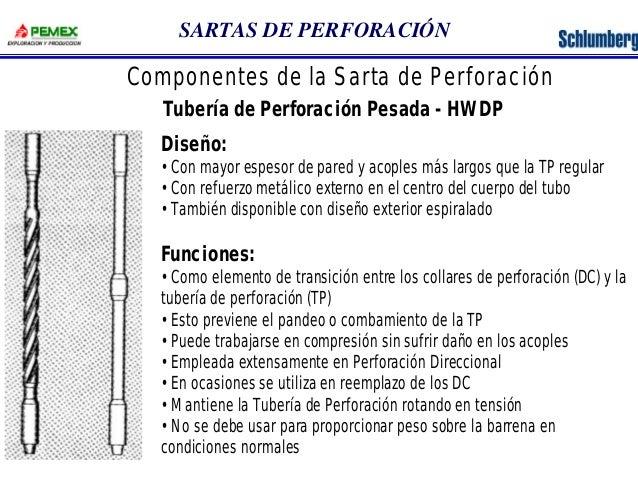 SARTAS DE PERFORACIÓN  Componentes de la Sarta de Perforación  Tubería de Perforación Pesada - HWDP  Diseño:  •Con mayor e...
