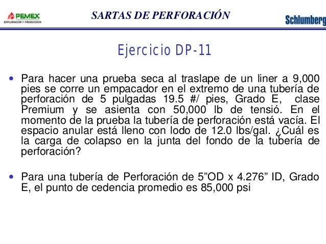 SARTAS DE PERFORACIÓN  Ejercicio DP-11  · Para hacer una prueba seca al traslape de un liner a 9,000  pies se corre un emp...