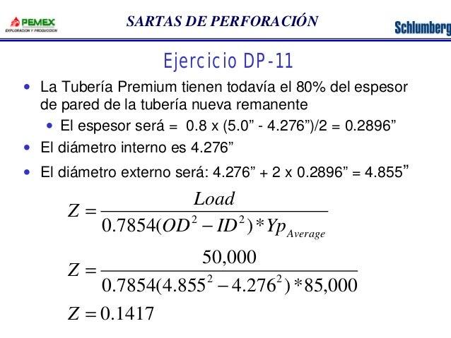 SARTAS DE PERFORACIÓN  Ejercicio DP-11  · La Tubería Premium tienen todavía el 80% del espesor  de pared de la tubería nue...