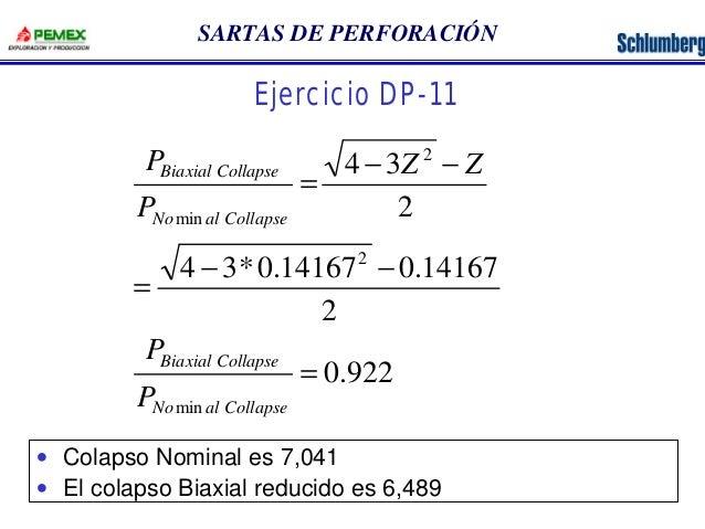 SARTAS DE PERFORACIÓN  Ejercicio DP-11  - -  4 3  Z Z  2  2  2  P  Biaxial Collapse  P  No min  al Collapse  =  - -  4 3*0...