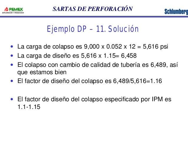 SARTAS DE PERFORACIÓN  Ejemplo DP – 11. Solución  · La carga de colapso es 9,000 x 0.052 x 12 = 5,616 psi  · La carga de d...