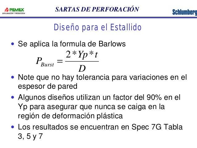 SARTAS DE PERFORACIÓN  Diseño para el Estallido  · Se aplica la formula de Barlows  2* *  =  Yp t  D  PBurst  · Note que n...