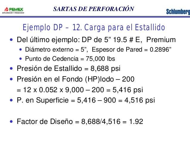 """SARTAS DE PERFORACIÓN  Ejemplo DP – 12. Carga para el Estallido  · Del último ejemplo: DP de 5"""" 19.5 # E, Premium  · Diáme..."""