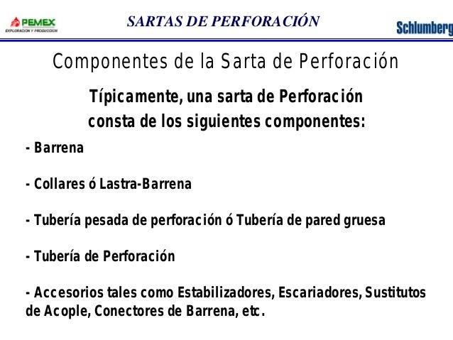 SARTAS DE PERFORACIÓN  Componentes de la Sarta de Perforación  Típicamente, una sarta de Perforación  consta de los siguie...