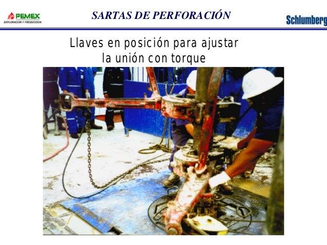 SARTAS DE PERFORACIÓN  Llaves en posición para ajustar  la unión con torque