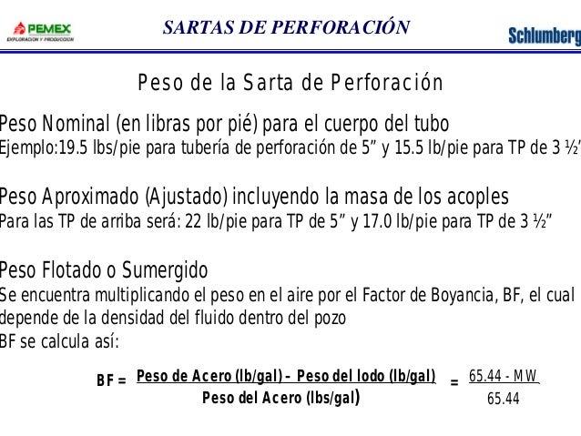 SARTAS DE PERFORACIÓN  Peso de la Sarta de Perforación  Peso Nominal (en libras por pié) para el cuerpo del tubo  Ejemplo:...