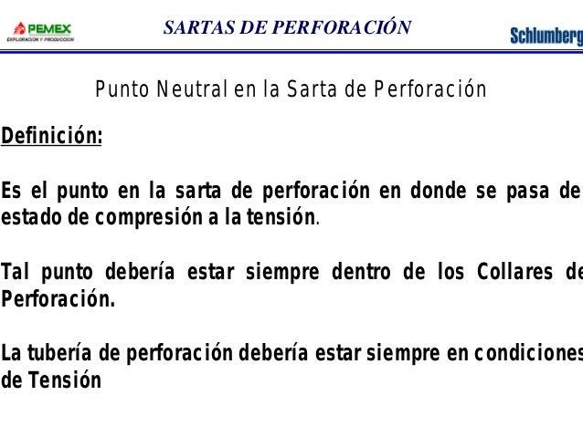 SARTAS DE PERFORACIÓN  Punto Neutral en la Sarta de Perforación  Definición:  Es el punto en la sarta de perforación en do...