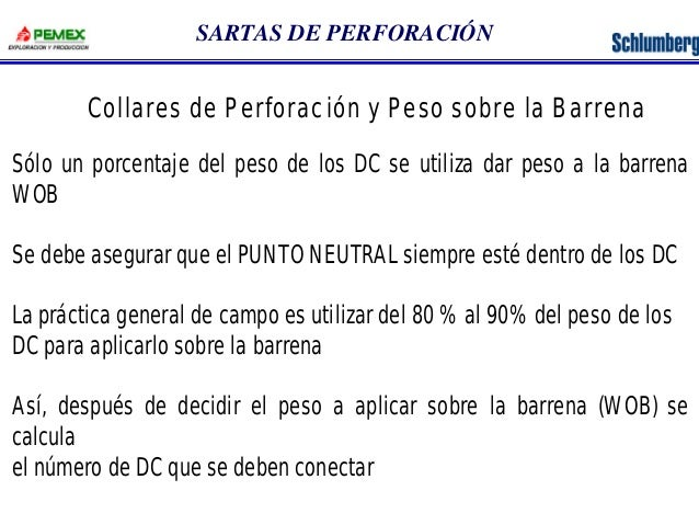 SARTAS DE PERFORACIÓN  Collares de Perforación y Peso sobre la Barrena  Sólo un porcentaje del peso de los DC se utiliza d...