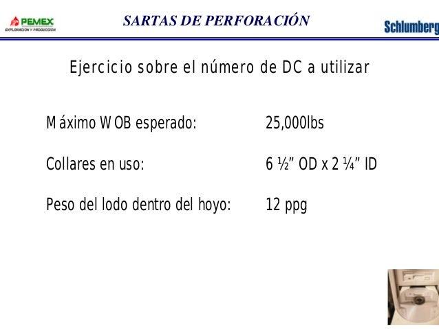 """SARTAS DE PERFORACIÓN  Ejercicio sobre el número de DC a utilizar  Máximo WOB esperado: 25,000lbs  Collares en uso: 6 ½"""" O..."""