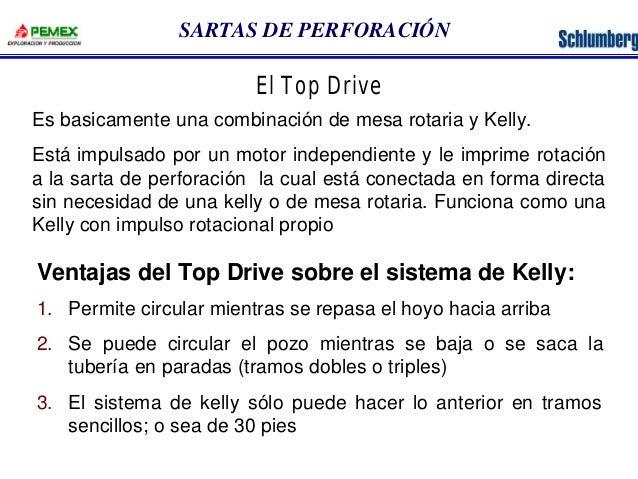 SARTAS DE PERFORACIÓN  El Top Drive  Es basicamente una combinación de mesa rotaria y Kelly.  Está impulsado por un motor ...