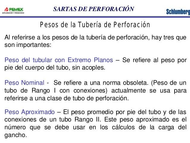 SARTAS DE PERFORACIÓN  Pesos de la Tubería de Perforación  Al referirse a los pesos de la tubería de perforación, hay tres...