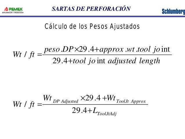 SARTAS DE PERFORACIÓN  peso DP approx wt tool jo  . 29.4 . . int  ´ +  Wt 29.4  Wt  DP Adjusted ToolJt Approx  L  ToolJtAd...