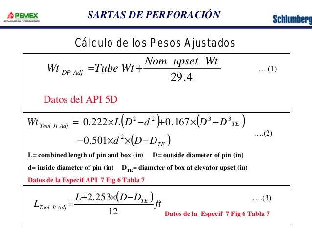 SARTAS DE PERFORACIÓN  Cálculo de los Pesos Ajustados  Nom upset Wt  29.4  Wt Tube Wt DP Adj = +  ( 2 2 ) ( 3 3  )  ( ) TE...