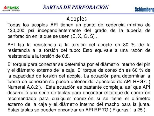 SARTAS DE PERFORACIÓN  Acoples  Todas los acoples API tienen un punto de cedencia mínimo de  120,000 psi independientement...