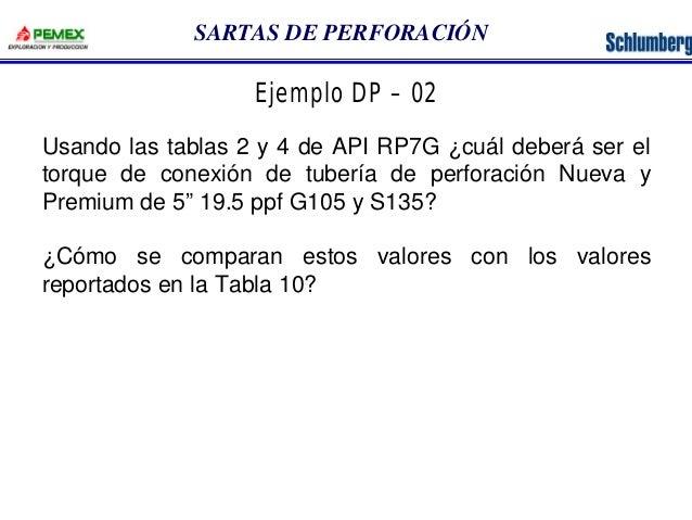 SARTAS DE PERFORACIÓN  Ejemplo DP – 02  Usando las tablas 2 y 4 de API RP7G ¿cuál deberá ser el  torque de conexión de tub...