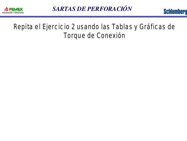 SARTAS DE PERFORACIÓN  Repita el Ejercicio 2 usando las Tablas y Gráficas de  Torque de Conexión