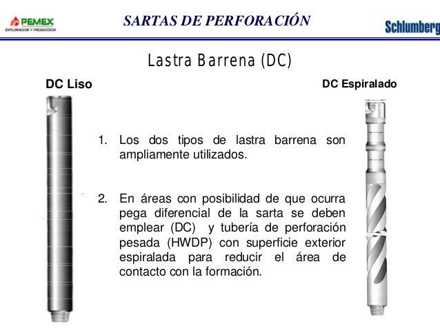 SARTAS DE PERFORACIÓN  Lastra Barrena (DC)  DC Liso DC Espiralado  1. Los dos tipos de lastra barrena son  ampliamente uti...