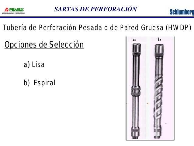 SARTAS DE PERFORACIÓN  Tubería de Perforación Pesada o de Pared Gruesa (HWDP)  Opciones de Selección  a) Lisa  b) Espiral