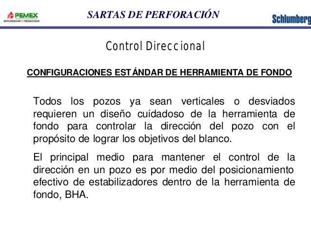 SARTAS DE PERFORACIÓN  Control Direccional  CONFIGURACIONES ESTÁNDAR DE HERRAMIENTA DE FONDO  Todos los pozos ya sean vert...