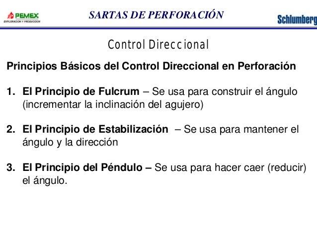 SARTAS DE PERFORACIÓN  Control Direccional  Principios Básicos del Control Direccional en Perforación  1. El Principio de ...