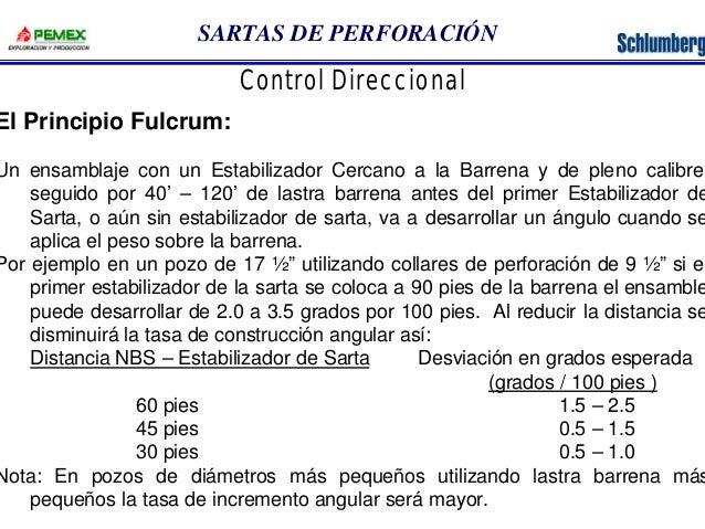 SARTAS DE PERFORACIÓN  Control Direccional  El Principio Fulcrum:  Un ensamblaje con un Estabilizador Cercano a la Barrena...
