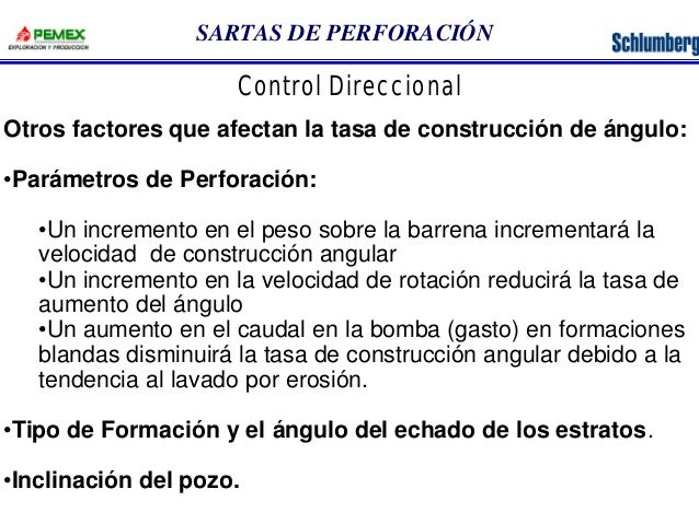 SARTAS DE PERFORACIÓN  Control Direccional  Otros factores que afectan la tasa de construcción de ángulo:  •Parámetros de ...