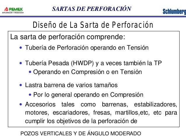 SARTAS DE PERFORACIÓN  Diseño de La Sarta de Perforación  La sarta de perforación comprende:  · Tubería de Perforación ope...