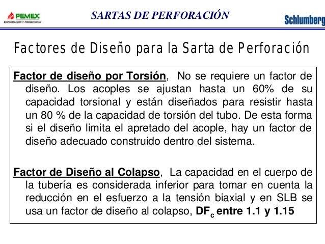 SARTAS DE PERFORACIÓN  Factores de Diseño para la Sarta de Perforación  Factor de diseño por Torsión, No se requiere un fa...