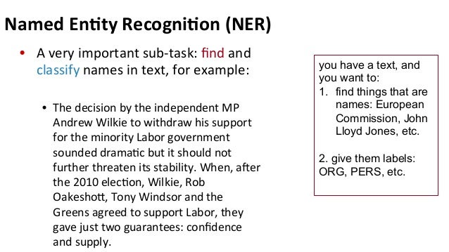 IE: Named Entity Recognition (NER)