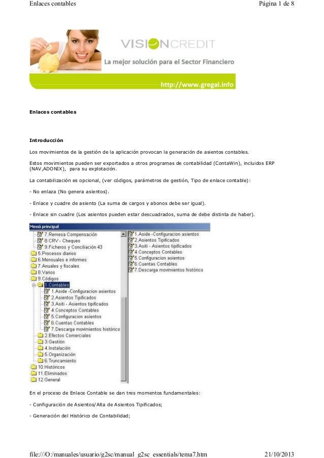 Enlaces contables  Página 1 de 8  Enlaces contables  Introducción Los movimientos de la gestión de la aplicación provocan ...