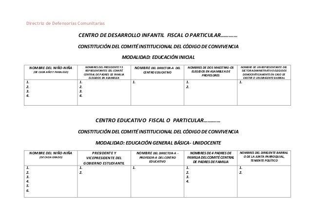 Directriz de Defensorías Comunitarias CENTRO DE DESARROLLO INFANTIL FISCAL O PARTICULAR………… CONSTITUCIÓN DEL COMITÉ INSTIT...