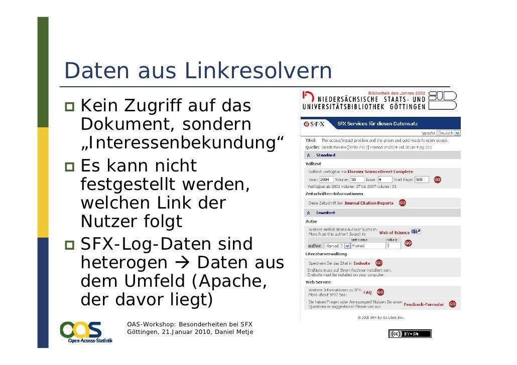 """Daten aus Linkresolvern  Kein Zugriff auf das  Dokument, sondern  """"Interessenbekundung""""  Es kann nicht  festgestellt werde..."""