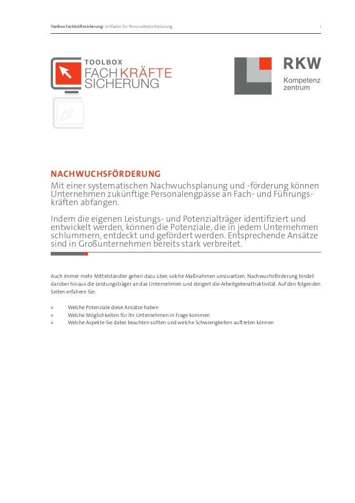 Toolbox Fachkräftesicherung: Leitfaden für Personalbedarfsplanung                                              1Nachwuch...